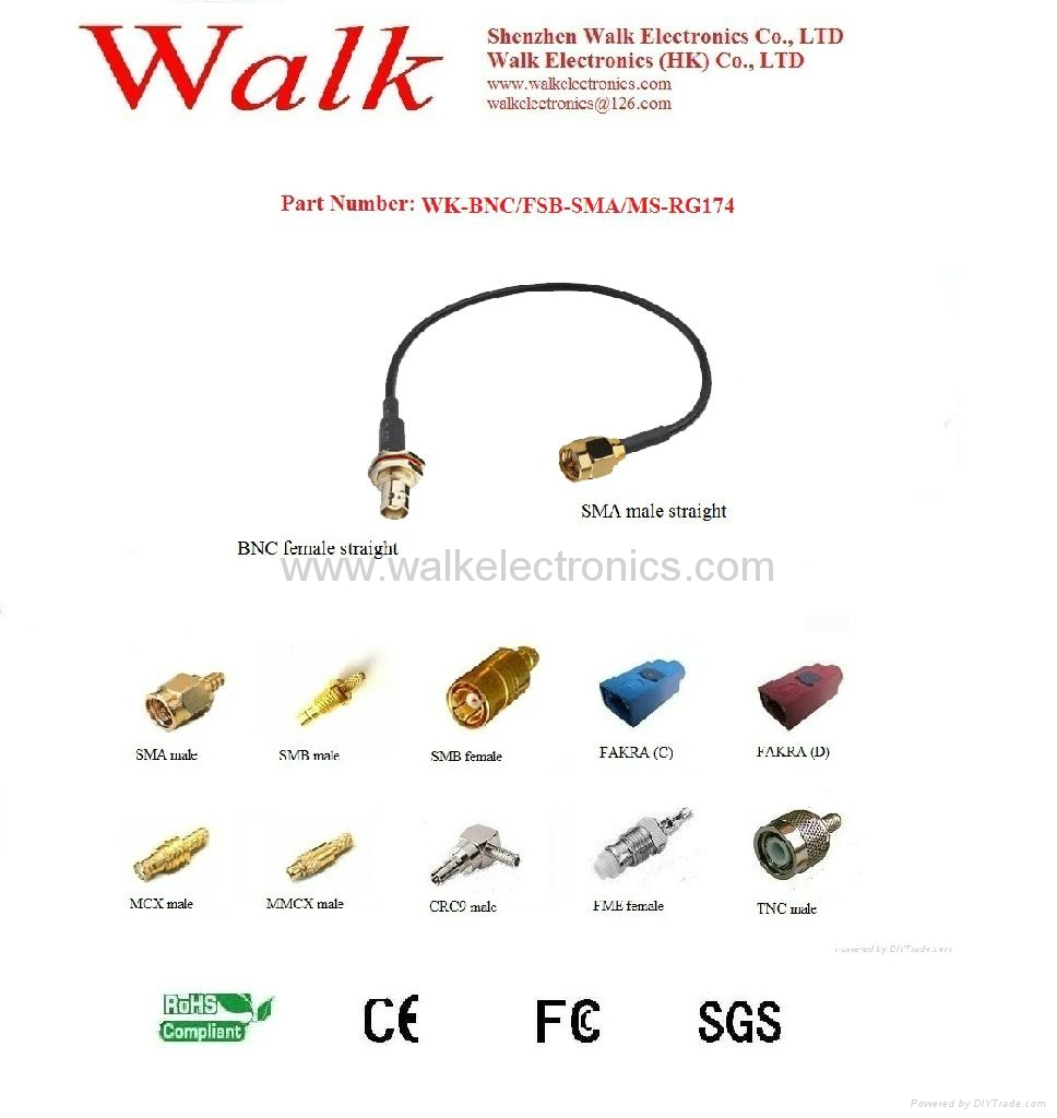 RF cable/Pigtails/Jumper cable/Interface Cable(WK-BNC/FSB-SMA/MS-RG174)
