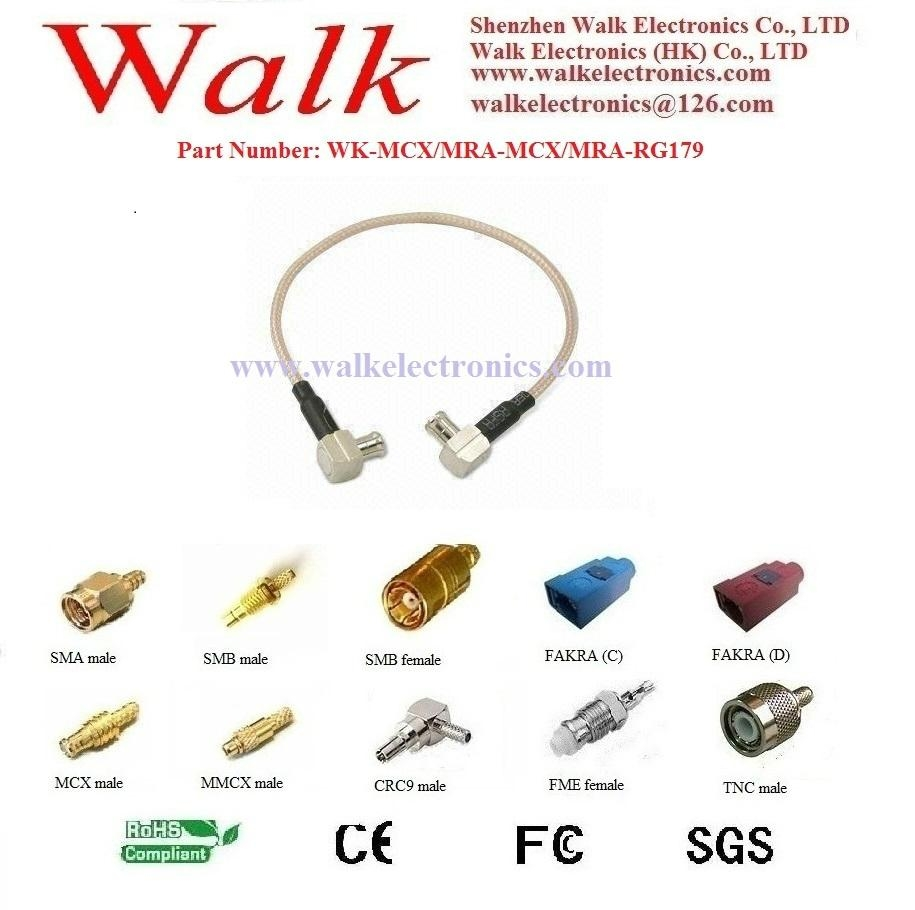RF cable assembly/Pigtails/Jumper Cable: MCX male right angle to MCX male right  1