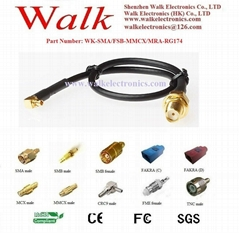 RF cable assembly/Pigtails/Jumper Cable: SMA female straight to MMCX male right