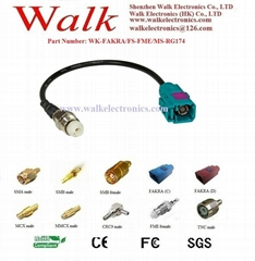 RF cable assembly/Pigtails/Jumper Cable: FAKRA female straight to FME female