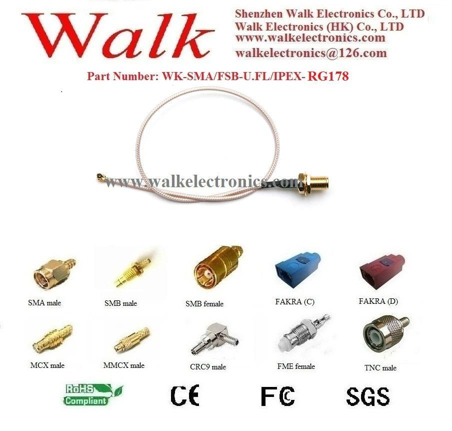 sma female u.fl rg178 cable, ipex rg178 gps antenna cable,sma cable antenna 1