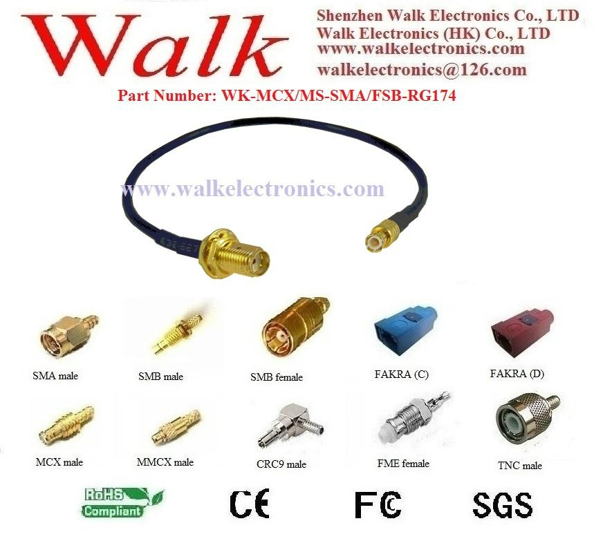 SMA female MCX rg174 cable, SMA female GPS antenna cable, MCX extension cable 1