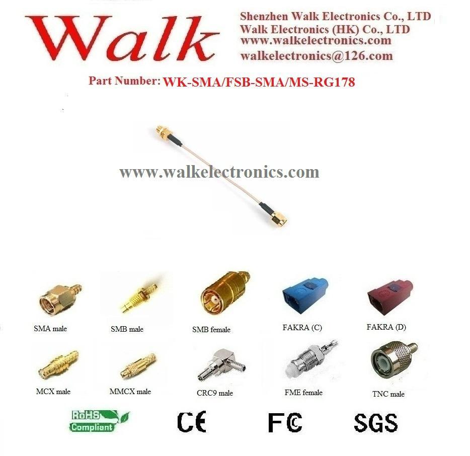 SMA female SMA male rg178 cable, SMA female antenna cable, SMA interface cable