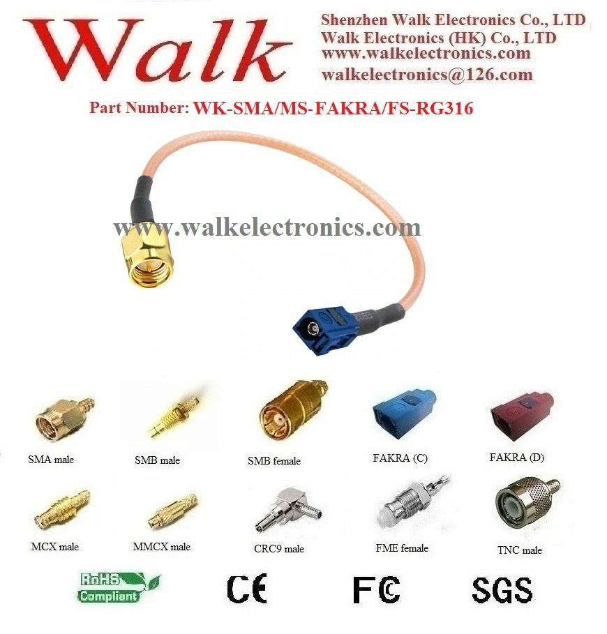 FAKRA female SMA male rg316 cable, FAKRA extension cable, SMA RG316 cable