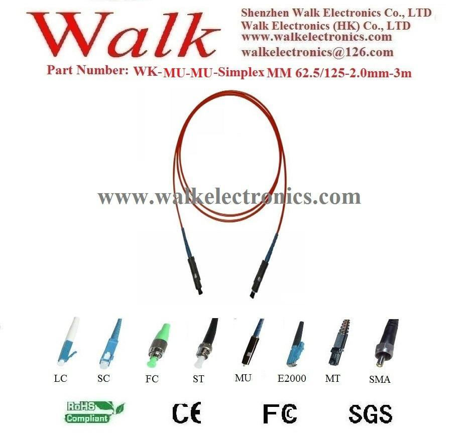 Fiber Patch Cord, fiber jumper cable, simplex MU to MU, multi mode 62.5/125