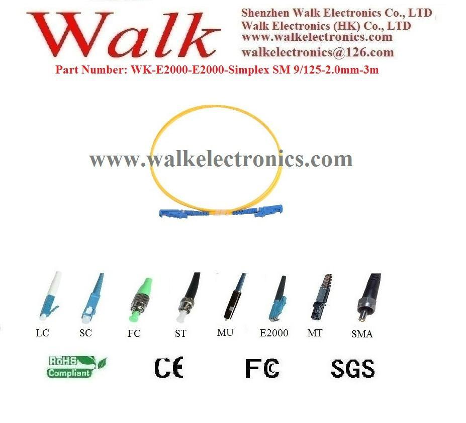 Fiber Patch Cord, fiber jumper cable, simplex E2000 to E2000, single mode 9/125