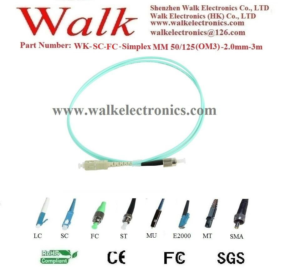 Fiber Patch Cord,fiber jumper cable,simplex FC to SC,multi mode OM3 50/125