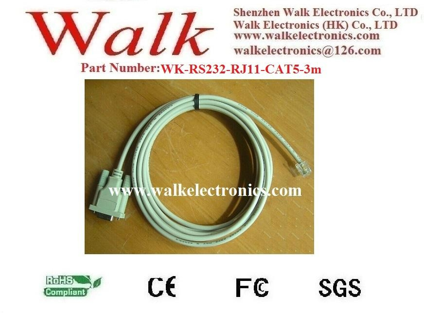 cat5 patch cable, network cable, ethernet cable, RS232 to RJ11 with cat5 cable