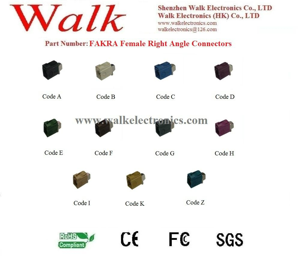FAKRA female right angle for RG174, RG316, RG58 cable, antenna connector  1