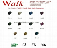 FAKRA female right angle for RG174, RG316, RG58 cable, antenna connector