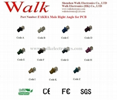 FAKRA male right angle for PCB mount, antenna connector, PCB connector
