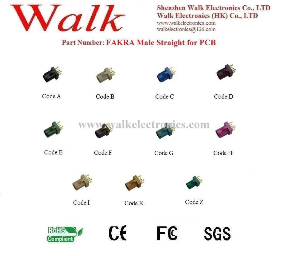 FAKRA male straight for PCB mount, antenna connector, PCB connector