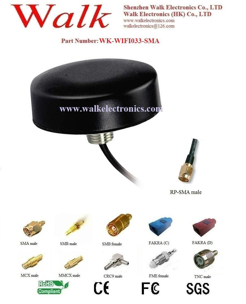 waterproof outdoor wifi antenna, screw mount wifi antenna, roof mount 2.4GHz 1