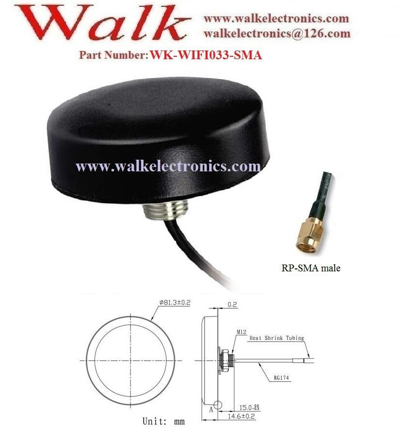 waterproof outdoor wifi antenna, screw mount wifi antenna, roof mount 2.4GHz 2