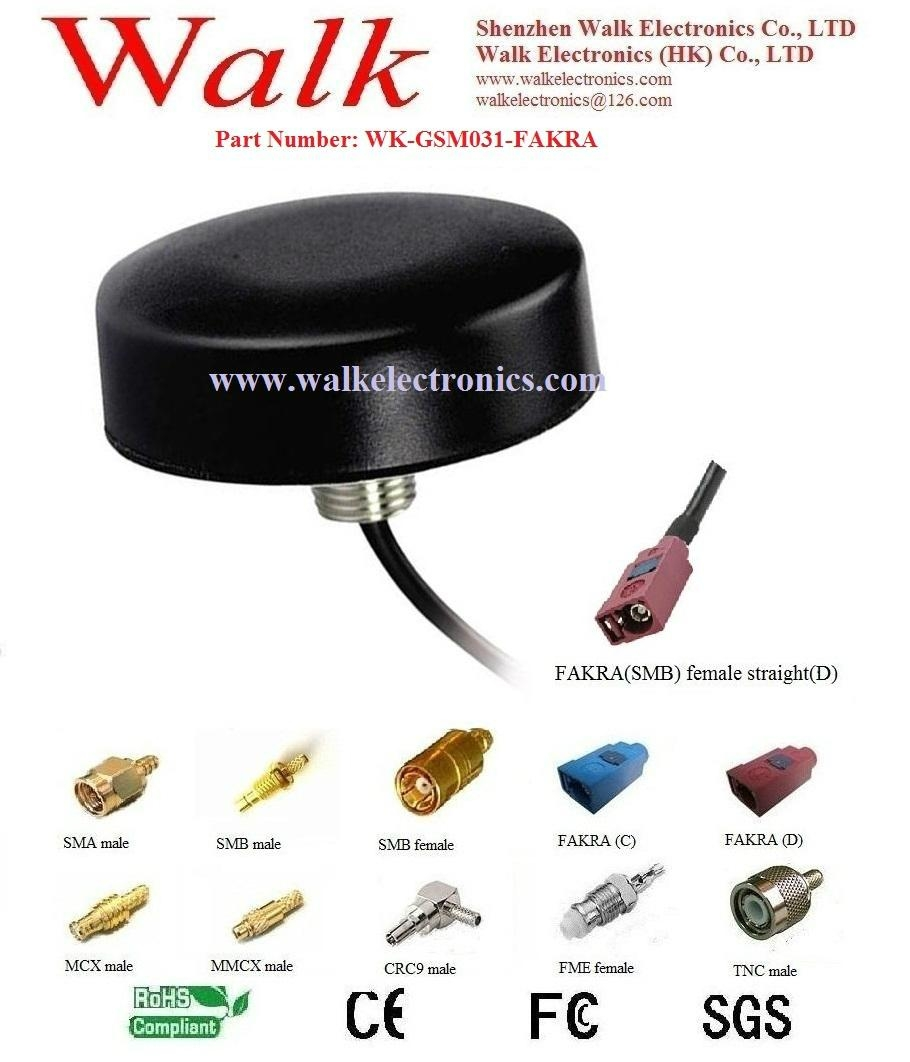 GSM/GPRS/AMPS Quad Band Car Antenna: FAKRA female straight, screw mount 1