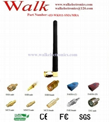 433MHz rubber antenna(433-WK011), SMA male right angle, 3dbi