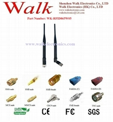 UHF RFID Antenna, 865-868MHz, SMA male straight rubber antenna, 5 dbi