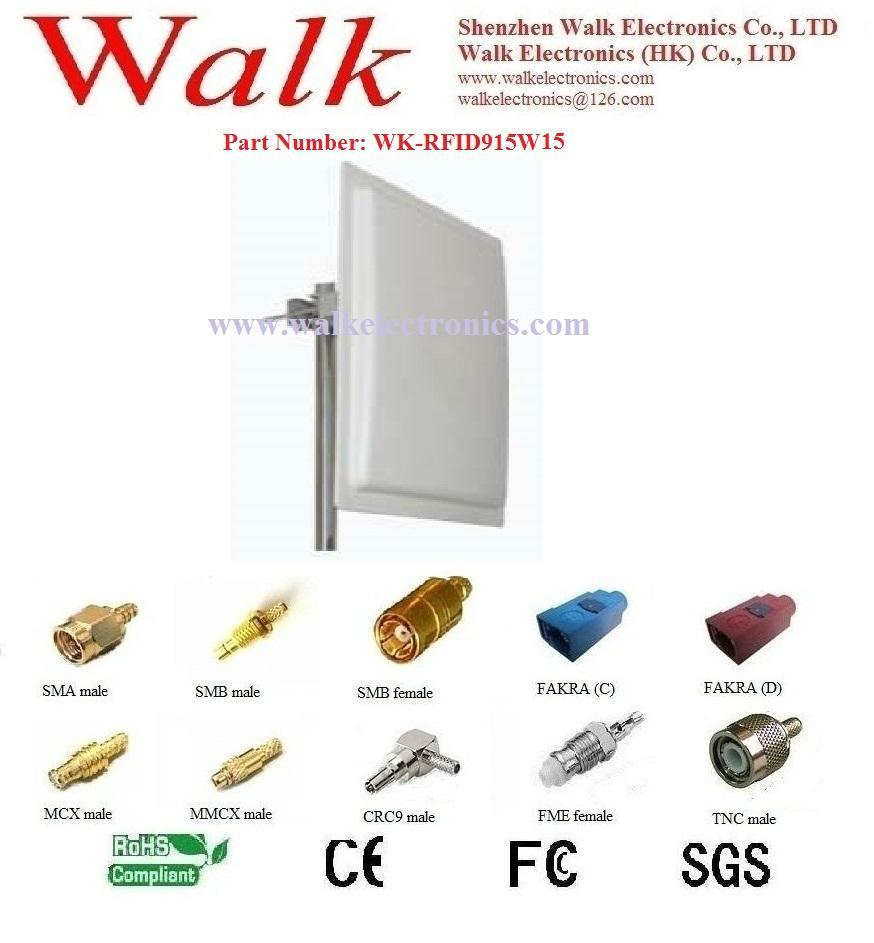 high gain UHF RFID Antenna, 902-928MHz, N female straight, Wall mount, 12-15 dbi