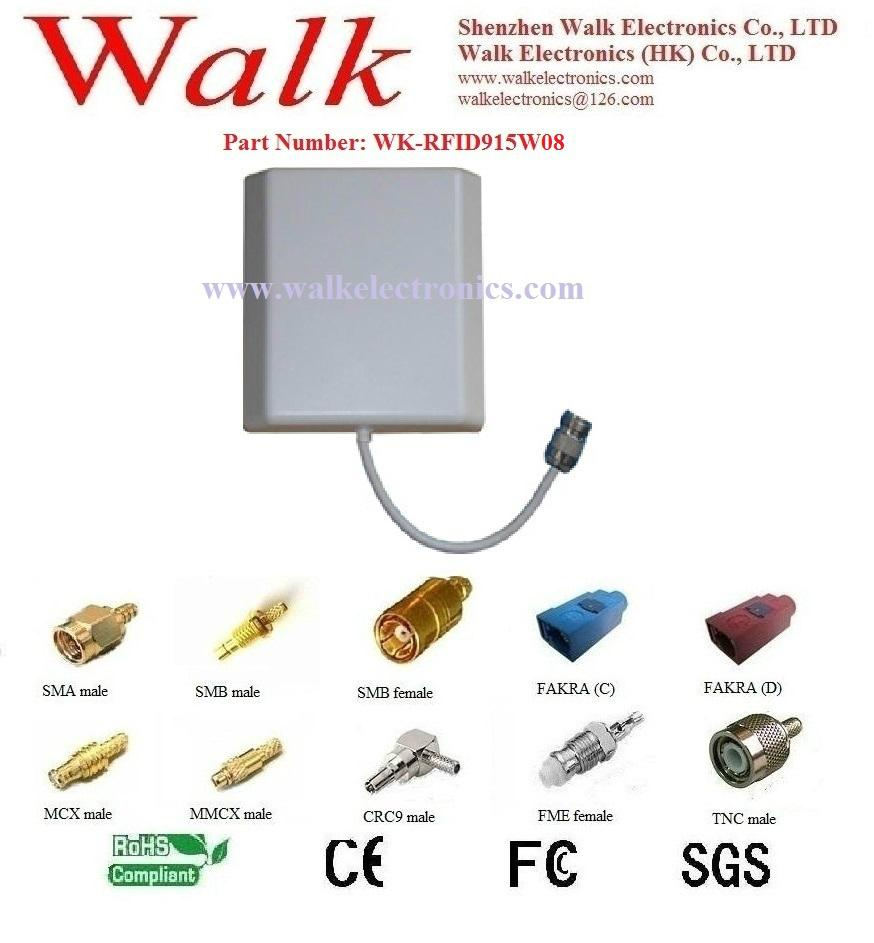UHF RFID Antenna, 902-928MHz, N female straight, Wall mount, 8 dbi