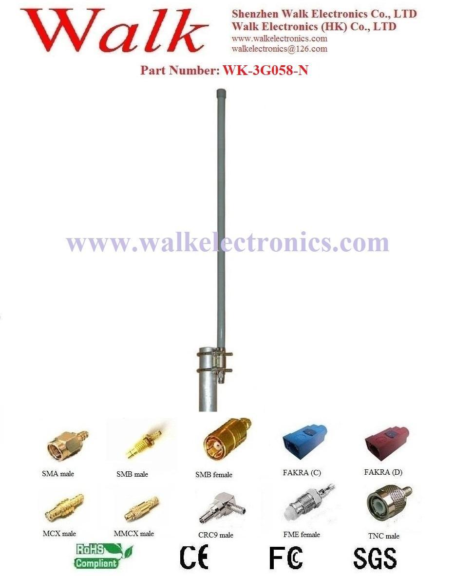 N male 9.0dbi high gain outdoor use pole mount gsm 3g glass fiber antenna