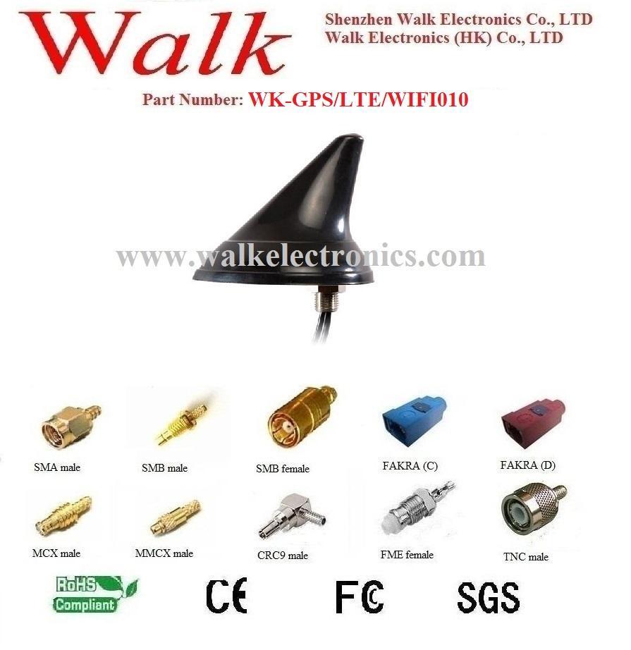 waterproof outdoor use screw mount shark fin GPS 3g 4g lte wifi combo antenna