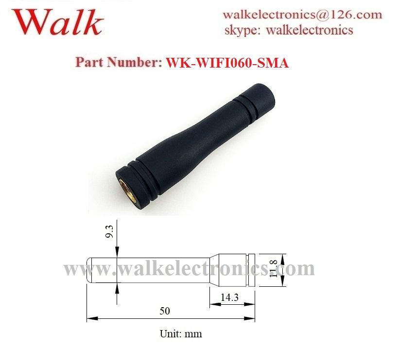 waterproof small RP-SMA male WiFi aerial 2.4GHz Zigbee rubber stubby antenna 2