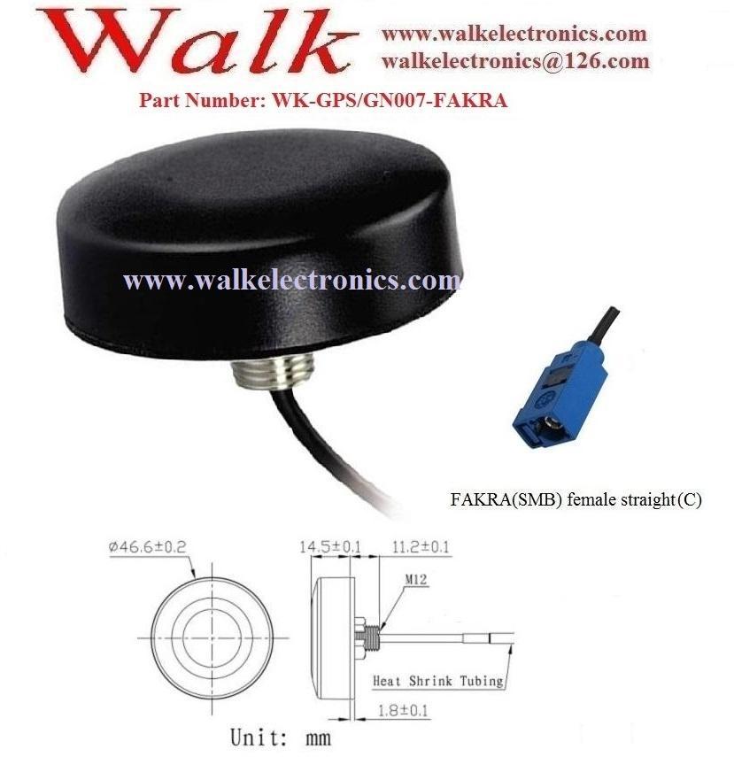 FAKRA female small size IP67 screw mount high gain active gps glonass antenna 2