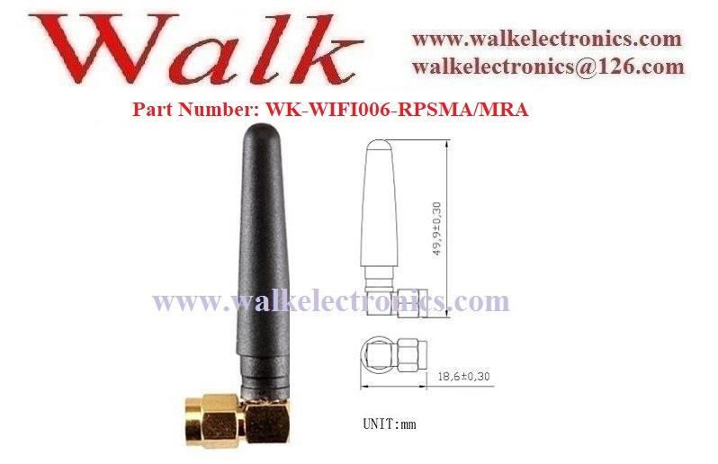 50mm length small size RP-SMA male right angle 2.4GHz WiFi stubby rubber antenna 2