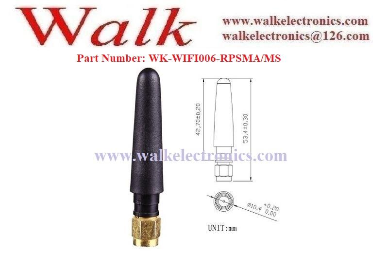53mm high short RP-SMA male straight 2.4GHz WiFi SMA rubber stubby antenna 2
