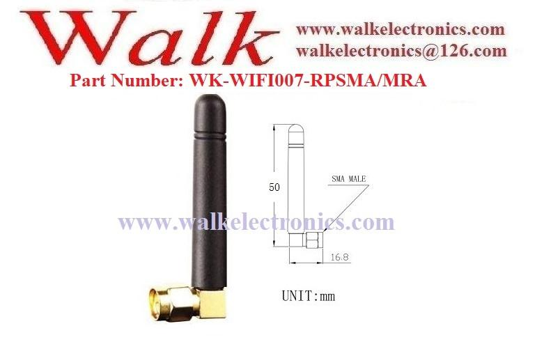 RP-SMA male angle 50mm size short omni direction wifi 2.4GHz stubby sma antenna 2