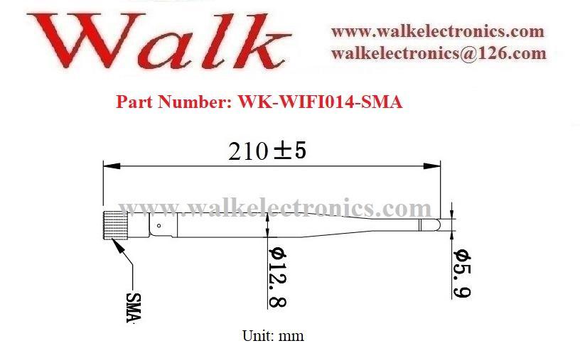 omni directional 5.0dbi high gain RP-SMA male straight elbow 2.4GHz WiFi antenna 2