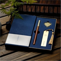 工厂直销耕读三件套如意书扣签字笔黄铜书签红木企业商务礼品定制