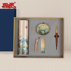 千里江山四件套多功能丝绸垫水晶书镇书签签字笔组合商务办公礼品