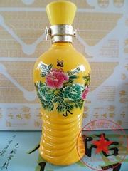 黄色烤花玻璃酒瓶