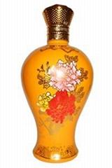 高档彩色工艺描金玻璃酒瓶