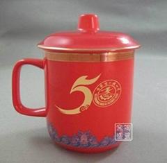 中國紅陶瓷辦公杯