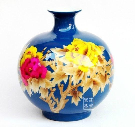 中国红麦秆画花瓶 1