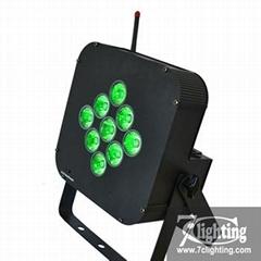 Battery Powered LED Par RGBWA 9LED Flat Par Wireless Dmx Remote Control