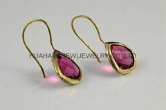 bezel gemstone jewelry bezel gemstone earring Korea hot sale,USA fashion design