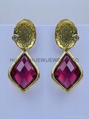 bezel gemstone earring,dangle diamond ruby crystal bridesmaid stud earring.Gift