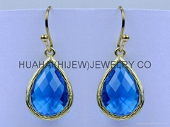 bezel jewelry,dangle teardrop capri blue glass crystal earring hook