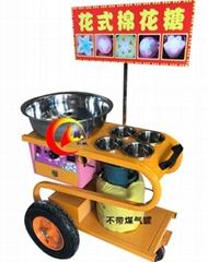 商用手推彩色花式棉花糖機小車