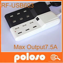 6 ports usb charger for mobilephone mp3/4 digital camera ipad