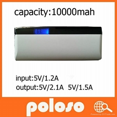 real 10000mah mobile phone power bank with LED light and LCD display