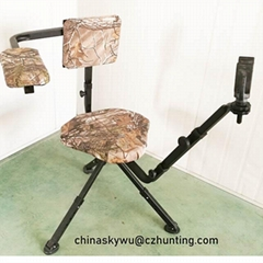 Hunting swivel chair with  adjustable gun rest