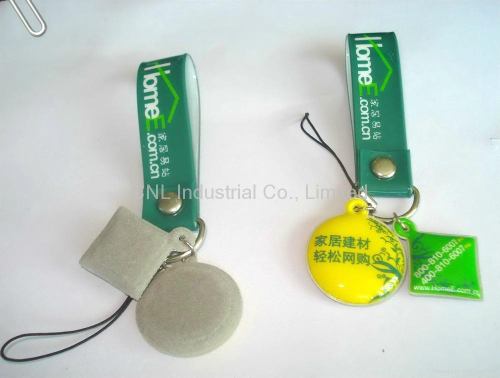 PVC keychain mobile screen cleaner with customized printing 3