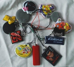 PVC cellphone screen cleaner charms,customized printing and shape available