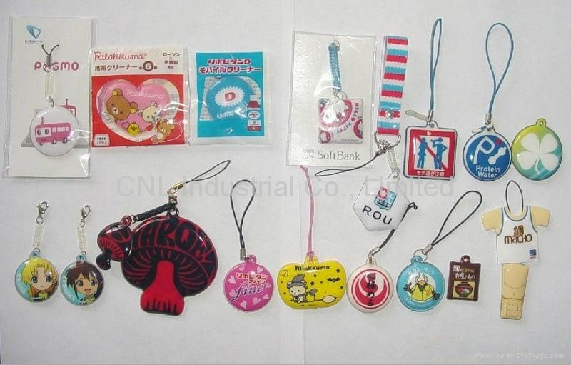 PVC cellphone screen cleaner charms,customized printing and shape available 3