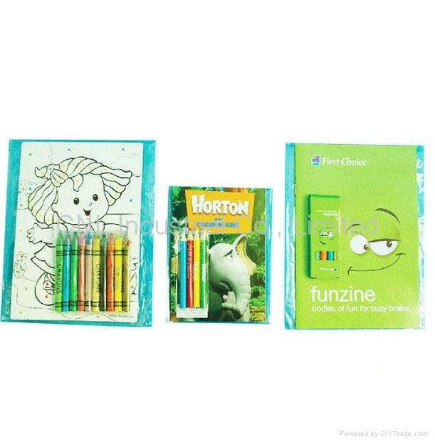 Coloring book set with colored pencil, kids coloring book printing 3