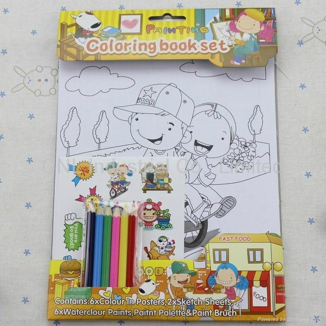 Cartoon coloring book set with colored pencil, kids coloring book printing